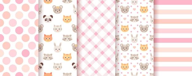 Baby prysznic bezszwowe tła. różowe pastelowe wzory. ilustracja wektorowa.
