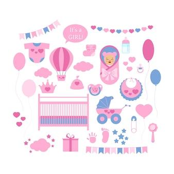 Baby prysznic dziewczyna wektor zestaw ikon na białym tle. balon z napisem noworodka, grzechotka, wózek, łóżeczko, śliniaczek, czapka, buciki, przypinka, prezent, dziecko w kocyku, odcisk dłoni, odcisk stopy. płaska konstrukcja ilustracja.