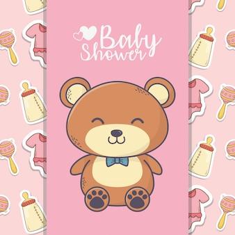 Baby prysznic ładny miś zabawka butelka grzechotka transparent tło