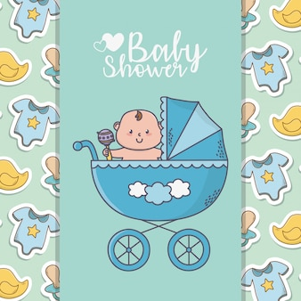 Baby prysznic mały chłopiec w wózku z body kaczki transparent tło