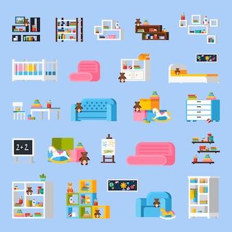 Baby room furniture płaskie ikony ozdobne