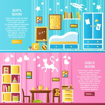Baby room interior horizontal banery