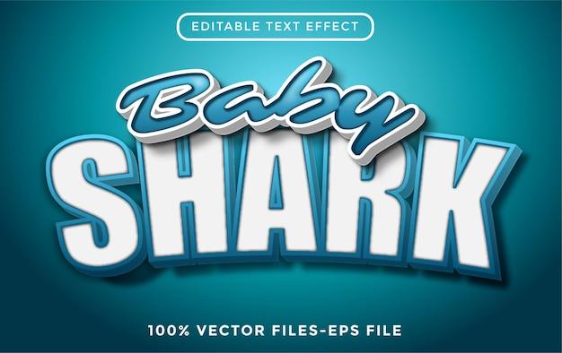 Baby shark 3d edytowalny efekt tekstowy stylu kreskówki premium wektorów