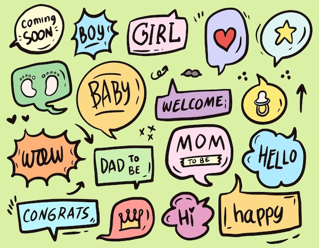 Baby shower bańka tekst ornament zestaw rysunek kolekcja