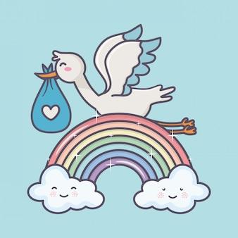 Baby shower bocian pieluszka niebieski tęczowe chmury