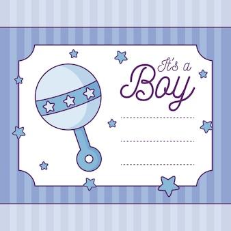 Baby shower card to chłopiec z grzechotką