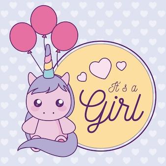 Baby shower card to dziewczyna ze ślicznym jednorożcem