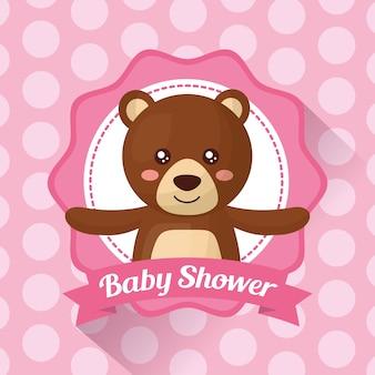 Baby shower celebration stripe tło naklejki uroczy niedźwiedź dziewczyna ur