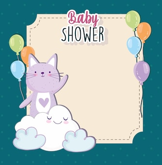 Baby shower cute cat chmura kreskówka balony ilustracja wektorowa karta zaproszenie