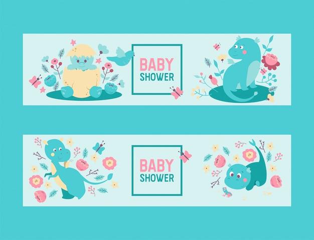 Baby shower dinozaury chłopiec lub dziewczynka wektor zaproszenie. słodkie dziecko dinozaury dinozaury i smoki wykluwające się z jajka, siedząc w kwiatach