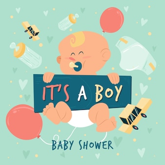Baby shower dla chłopca z dzieckiem i balonami