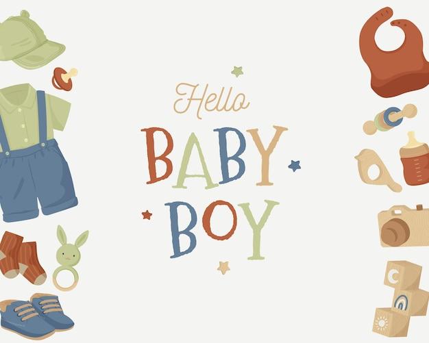 Baby shower estetyczny szablon tła w neutralnym odcieniu ziemi