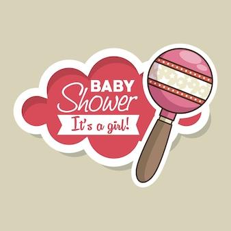 Baby shower girl invitation card