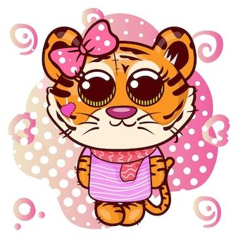 Baby shower greeting card z cute cartoon tiger girl - wektor