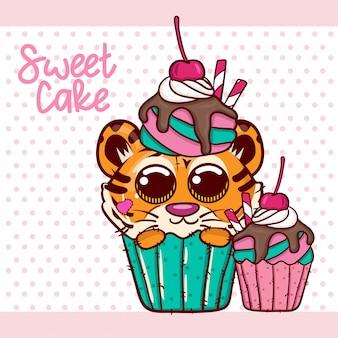 Baby shower greeting card z cute chłopiec tygrys cartoon - vector