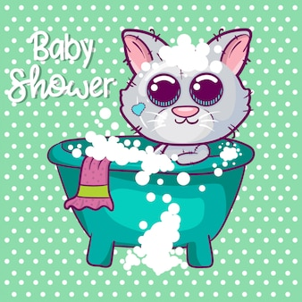 Baby shower greeting card z cute kitten boy cartoon