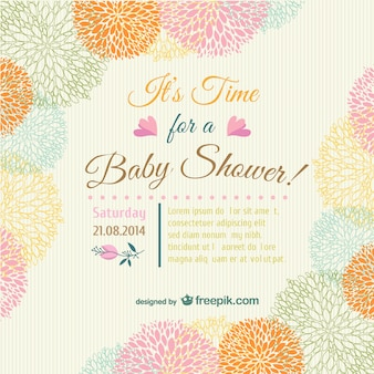 Baby shower karta zaproszenie kwiatów