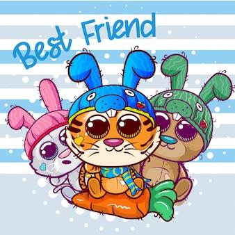 Baby shower kartkę z życzeniami z cute cartoon tygrysa i kota - wektor