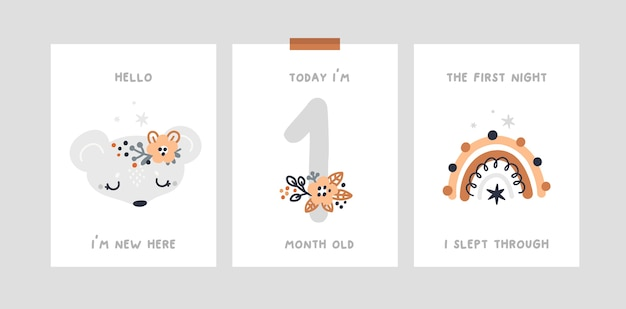 Baby shower, karty z kamieniami milowymi z małą myszką, tęcza. karta rocznica miesiąca przedszkola