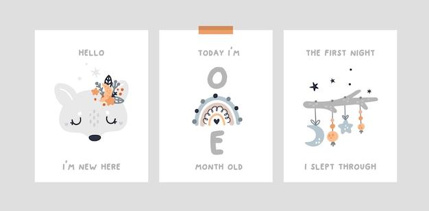 Baby shower, karty z kamieniami milowymi z małym wilczakiem, tęcza. karta rocznica miesiąca przedszkola