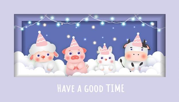 Baby shower karty z uroczymi zwierzętami imprezowymi na niebie. styl cięcia papieru.