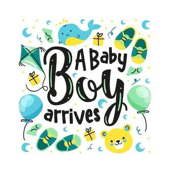 Baby shower napis z balonami