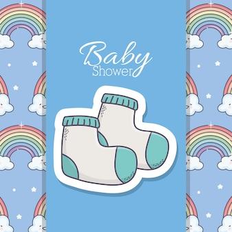Baby shower niebieskie skarpetki tęcze chmury banner