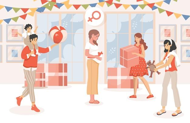 Baby shower party płaska ilustracja. szczęśliwa kobieta w ciąży świętuje ciążę.