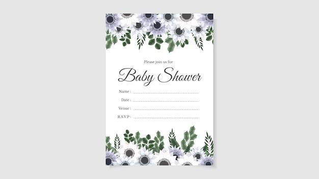 Baby shower party zaprosić karta kwiatowy kwiat tło słodkie edytowalne