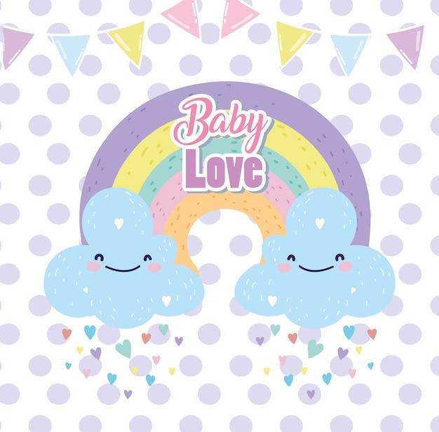 Baby shower śliczna tęcza z chmur deszczowymi sercami miłości kreskówki kartka z pozdrowieniami