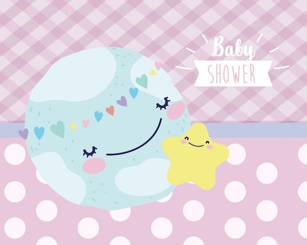 Baby shower śliczny świat z dekoracją gwiazd i serc