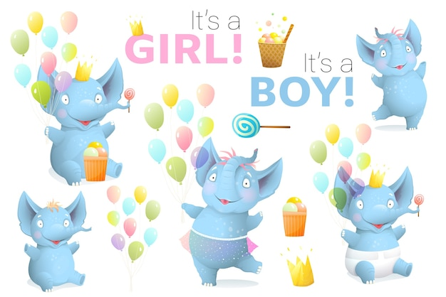 Baby shower, słonie i przedmioty urodzinowe clipart. nowonarodzone słonie to znak chłopiec i dziewczynka, balony, realistyczne akwarele na przyjęcie urodzinowe. artystyczna kolekcja 3d.
