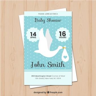 Baby shower szablon karty z bocianem
