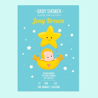 Baby shower szablon zaproszenia z koncepcją chłopca