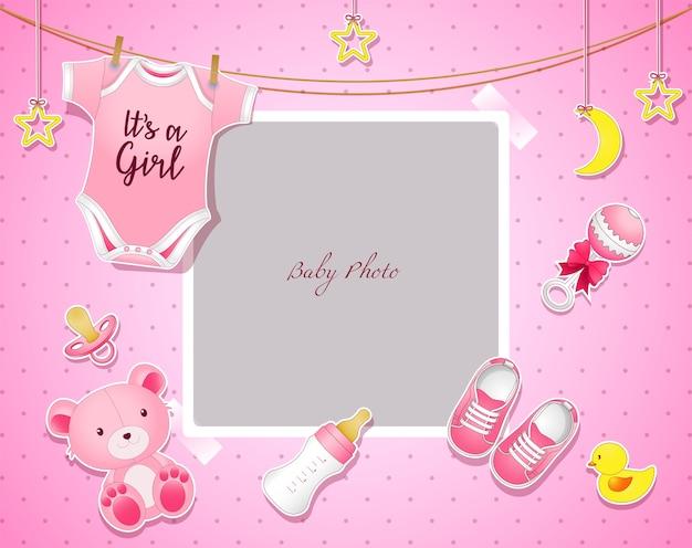 Baby shower szablon zaproszenia z miejscem na tekst