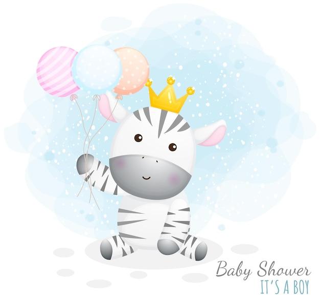 Baby shower to chłopiec. cute baby zebra gospodarstwa balony
