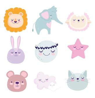 Baby shower, uroczy lew królik kot niedźwiedź słoń księżyc gwiazda owca kreskówka ikony