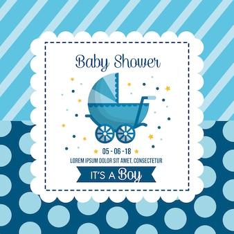 Baby shower uroczystości tło pęcherzyki paski niebiesko niemowlę wóz fracht szczęśliwy dzień