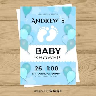 Baby shower zaproszenia karty szablon