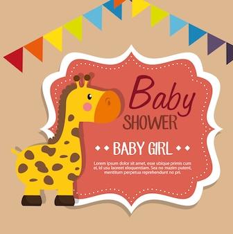 Baby shower zaproszenia karty wektor ilustracja projektu