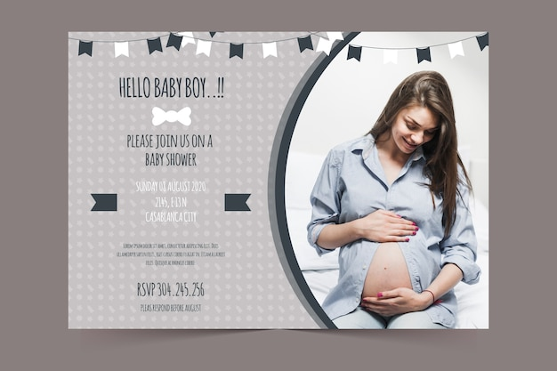 Baby shower zaproszenia szablon dla chłopca koncepcji