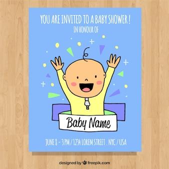 Baby shower zaproszenia z cute boy