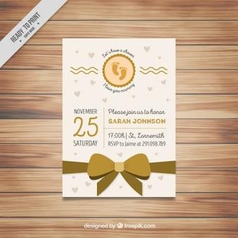 Baby shower zaproszenia z kokardą złota