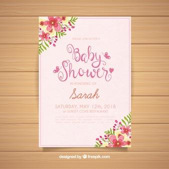 Baby shower zaproszenia z kwiatami w stylu przypominającym akwarele