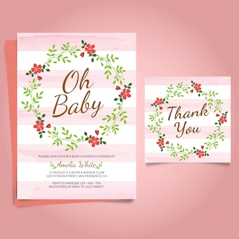 Baby shower zaproszenia z kwiatem