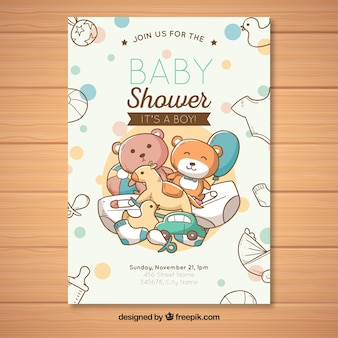 Baby shower zaproszenia z zabawkami