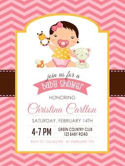 Baby shower zaproszenie dla dziewczynki