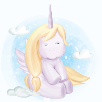 Baby unicorn in the sky with cloud