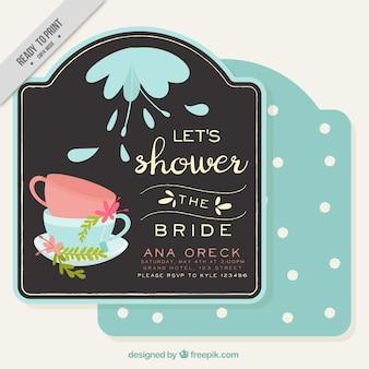 Bachelorette zaproszenie z dekoracyjnych filiżanek