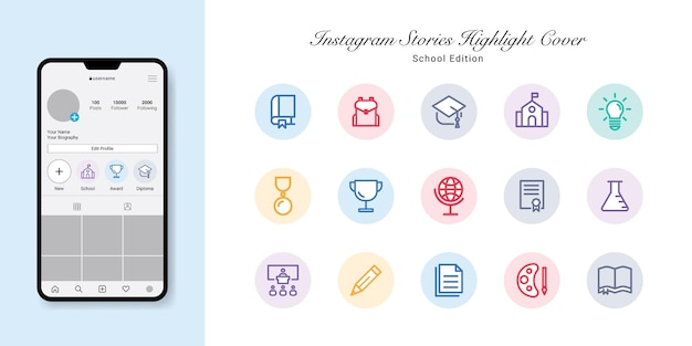 Back to school instagram stories wyróżnij projekt okładek